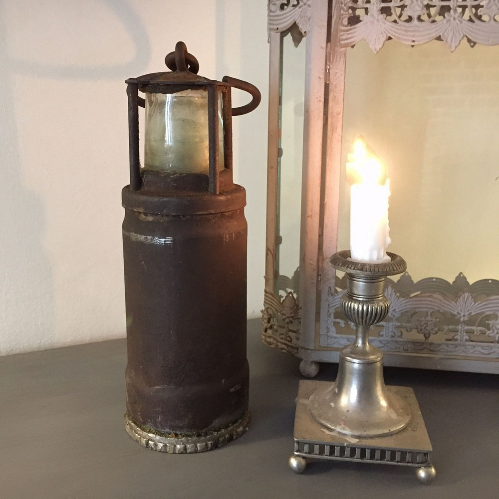 quirky lighting. Vintage Heavy Rustic Old Miners Lamp Quirky Light House Shaped | Shop Crown Cottage Somerset - Antique \u0026 Furniture Hand Painted In The Unique Lighting O