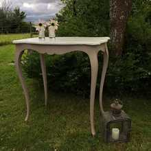 Adorable Little French Style Grey Side Table Bedside Table With White Top & Cabriole Legs