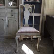 Antique Vintage Grey Painted Georgian Style High Back Dining Chair Upholstered Seat
