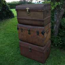 Characterful Rustic Vintage Steam Trunks/Coffee Tables With Lots of Patina & Good Interiors