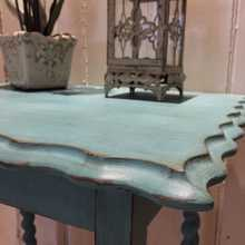 Characterful Turquoise Ornate Painted Antique Vintage Oak Side Table Bedside Table