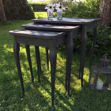 Gorgeous Vintage Dramatic Black Hand Painted Nest of Tables Side Table Bedside Table