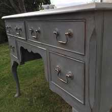Lovely Vintage Lavender Grey Hand Painted 5 Drawer Country Writing Desk Dressing Table