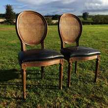 Matching Pair of Vintage Gustavian/French Style Cane Back Chairs - Upholstery Project!