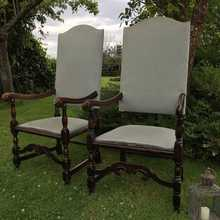 Matching Pair of Vintage Jacobean Style Throne Chairs Perfect Upholstery/DIY Project