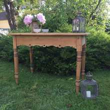 RESERVED! Vintage Country Farmhouse Pine Side Table Console Table Writing Desk Lovely Patina