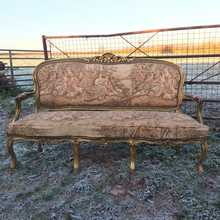 Upholstery Project! Gorgeous Louis XV Rococo Style Upholstered Gilded Carved Settee