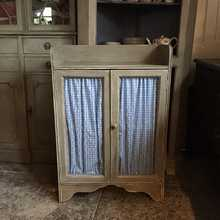 Vintage Grey French Style Country Farmhouse Chicken Wire/Fabric Doors Side Cabinet