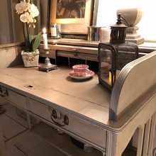 Vintage Grey Hand Painted Country Farmhouse Roll Top Writing Desk With Five Drawers