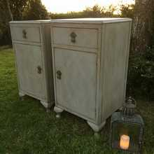 Vintage Grey Painted Country Matching Pair Bedside Cabinets/Tables Pot Cupboards