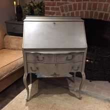 Vintage Grey Turquoise Hand Painted French Country Style Serpentine Writing Desk Bureau