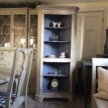 Vintage Painted Rustic Grey Gustavian Style Corner Cabinet Contrasting Blue Interior