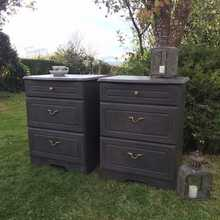 Vintage/Retro Black Hand Painted Matching Pair Bedside Cabinets Tables Chest of Drawers