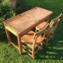 "Vintage Rustic School ""Double"" Desk With Two Chairs - Perfect For Your Kids Play Room!"