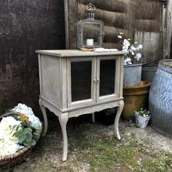 A Romantic Vintage Grey Hand Painted Country Chic Bedside Table / Side Cabinet