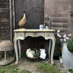 A Touch of Gold French Country Rococo Grey Hand Painted Vintage Dressing Table / Desk