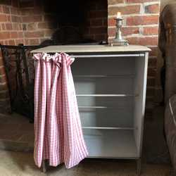 Adorable Grey Painted Country Vintage Shoe Storage Cabinet Pink Gingham Fabric