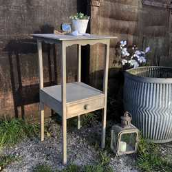 Adorable Grey Painted Vintage Tall Country Chic Side Table Pretty Details & Drawer