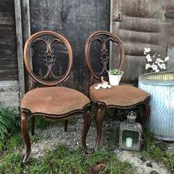 Adorable Pair of Antique Victorian Carved Chairs Lots of Patina! Perfect TLC Project!