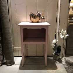 Adorable Pink Hand Painted Vintage French Country Chic Bedside Table / Side Table