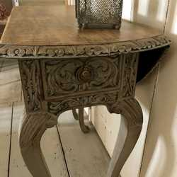 Antique Grey French Style Ornate Carved Side Table Gate Leg table Cabriole Legs