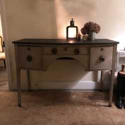 Antique Grey Painted Country Regency Style Buffet Sideboard Cabinet Chunky Handles