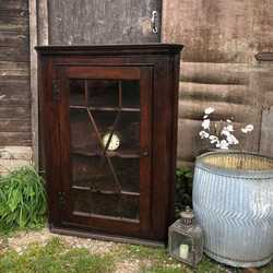 Antique Mahogany Glazed Country Farmhouse Corner Cabinet Removable Silk Curtain