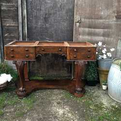 Antique Victorian Ornate Large Walnut Country Writing Desk / Wash Stand / Basin Base