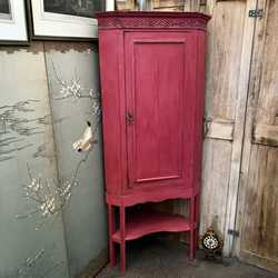 Antique Vintage Raspberry Red Country Farmhouse Tall Corner Cabinet Cupboard
