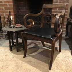 Antique Vintage Regency Empire Style Single Chair Black Seat Beautiful Details Handmade