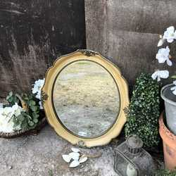 Beautiful Bevelled Antiqued Cream Yellow Coloured Ornate Oval Vintage Sturdy Wall Mirror