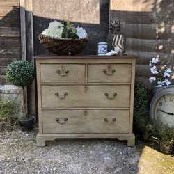 Beautiful Grey Painted Antique 4 Drawer Country Farmhouse Mahogany Chest of Drawers