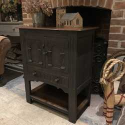 Black Hand Painted Gothic Country Style Vintage Oak Cabinet Cupboard Bedside Table