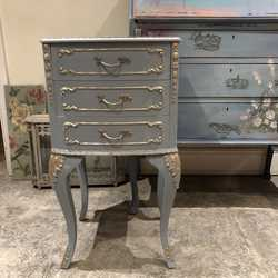 Blue & Gold French Country Chic Boho Vintage 3 Drawer Bedside Table With Bird, Crown