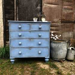Blue Painted Antique Victorian Country Farmhouse Chest of Drawers on Raised Feet