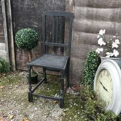 Characterful Black Hand Painted Gothic Style Vintage Single Chair With a Cane Seat