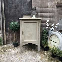 Characterful Grey Hand Painted Vintage Edwardian Oak Bedside Pot Cupboard Side Table