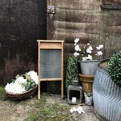 Characterful Vintage Country Farmhouse Pine & Glass Old Washboard - Lots of Patina