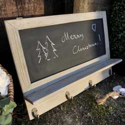 Charming Grey Hand Painted Country Chic Small Wall Blackboard With Shelf & 4 Hooks
