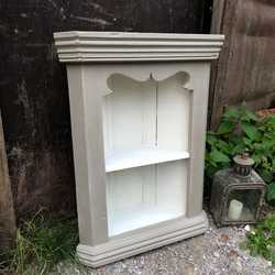 Charming Rustic Vintage Grey & White Hand Painted Small Pine Wall Corner Cabinet