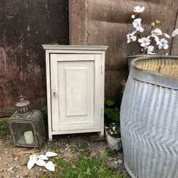Charming Rustic Vintage Paris Grey Painted Country Farmhouse Wall Cabinet