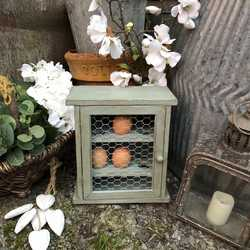 Charming Vintage Country Farmhouse Duck Egg Blue Hand Painted Pine Cabinet Egg Holder