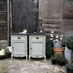 Country Chic Vintage Grey Hand Painted Matching Pair of Bedside Tables / Side Cabinets