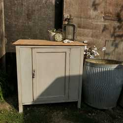 Country Farmhouse Vintage Paris Grey Oak Wash Stand Cabinet Cupboard Cabinet