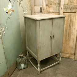 Country Style Vintage Grey Hand Painted Ball Twist Cabinet / Bedside Cabinet / Side Table
