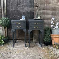 Dramatic Black Matching Pair Vintage French Rococo Style Bedside Tables / Cabinets