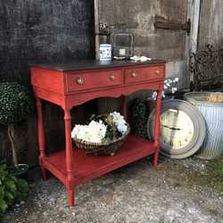 Dramatic Oriental Red Hand Painted Aged Vintage Country Console Table / Side Table