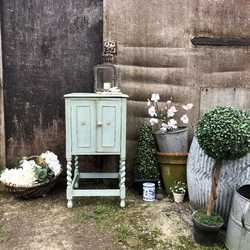 Duck Egg Blue Touch Gold Painted Country Chic Vintage Bedside Table / Pot Cupboard