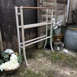 Edwardian Country Farmhouse Antique Vintage Grey Painted Freestanding Towel Rail