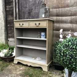 Elegant, Classic Grey Hand Painted Vintage Bookcase / Console Table Adjustable Shelves